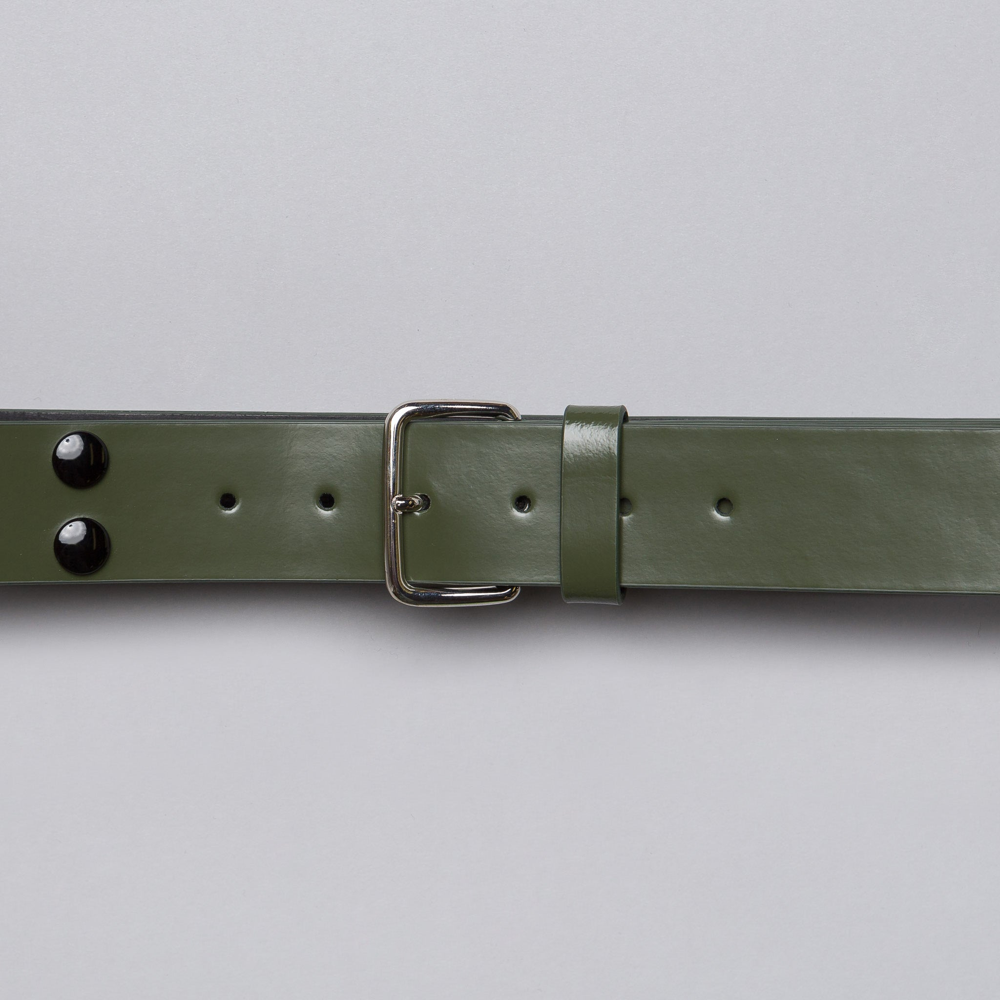 Leather Stud Belt in Olive