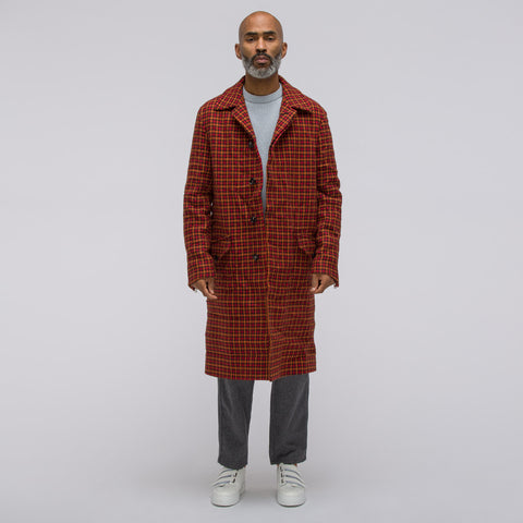 Marni Houndstooth Wool Coat in Red/Orange - Notre