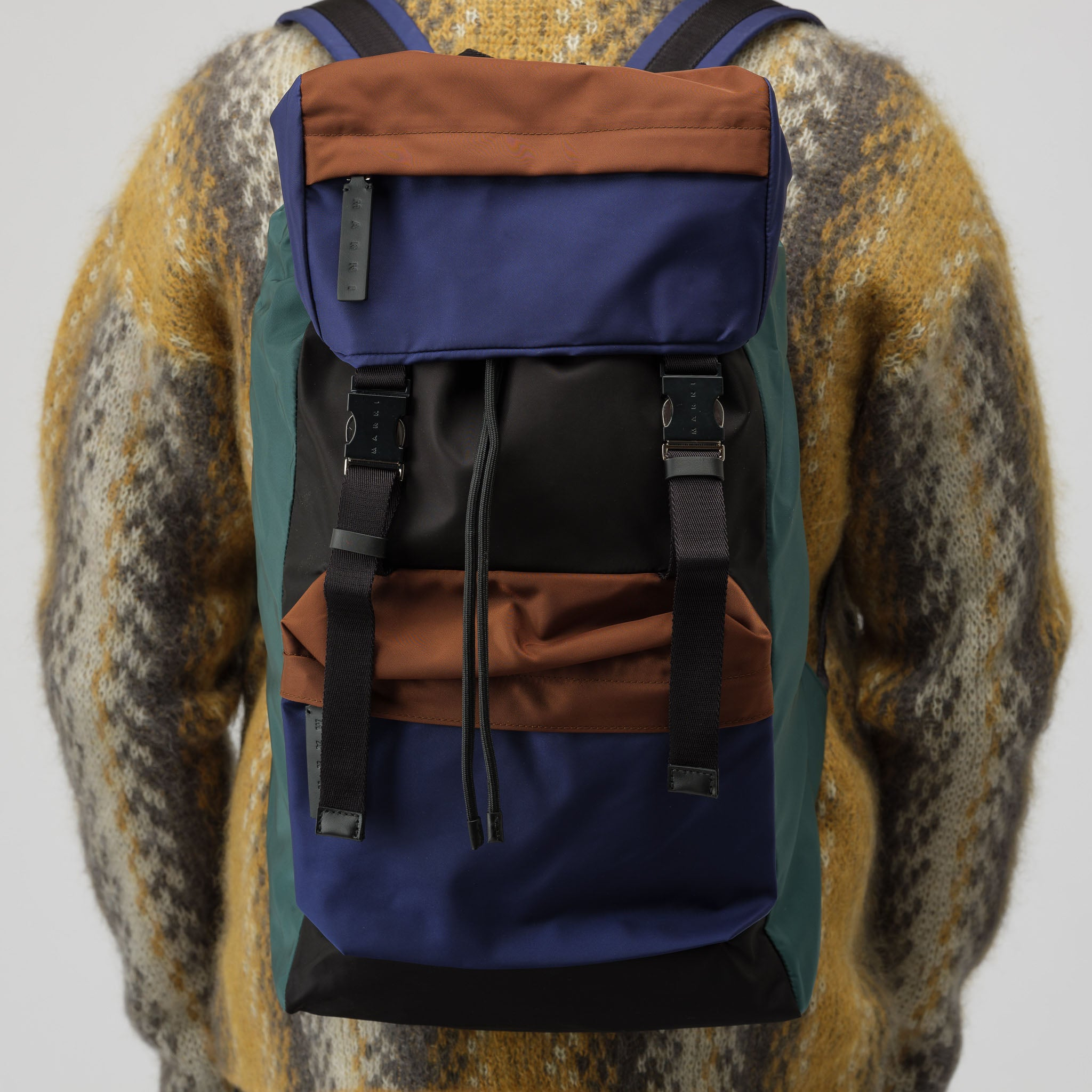 Color Block Backpack in Brown/Blue