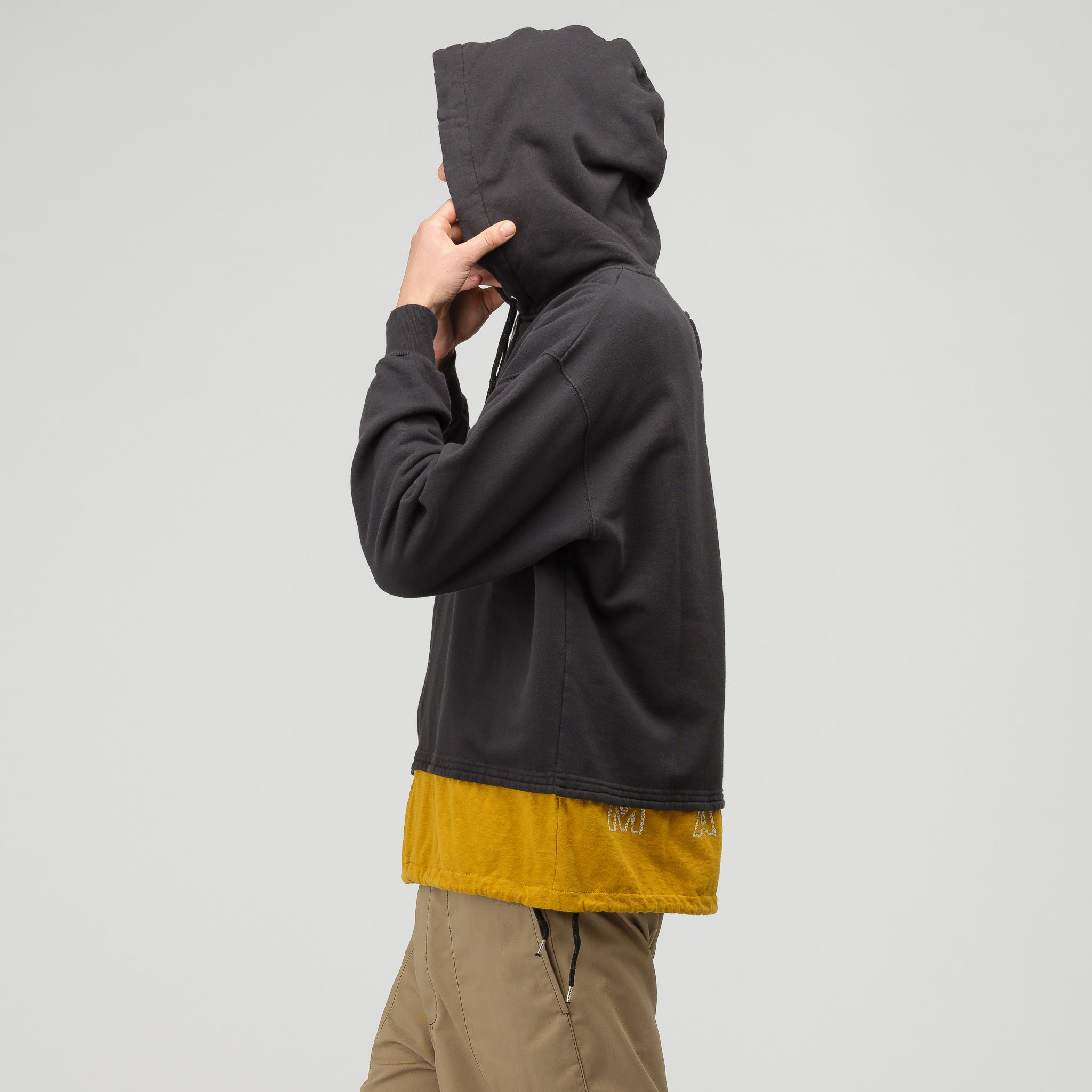 Cotton Hooded Sweatshirt in Grey/Mustard
