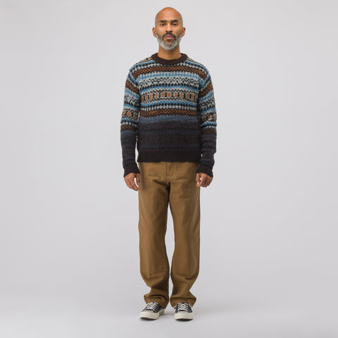 Marni Fair Isle Crewneck Sweater in Navy - Notre