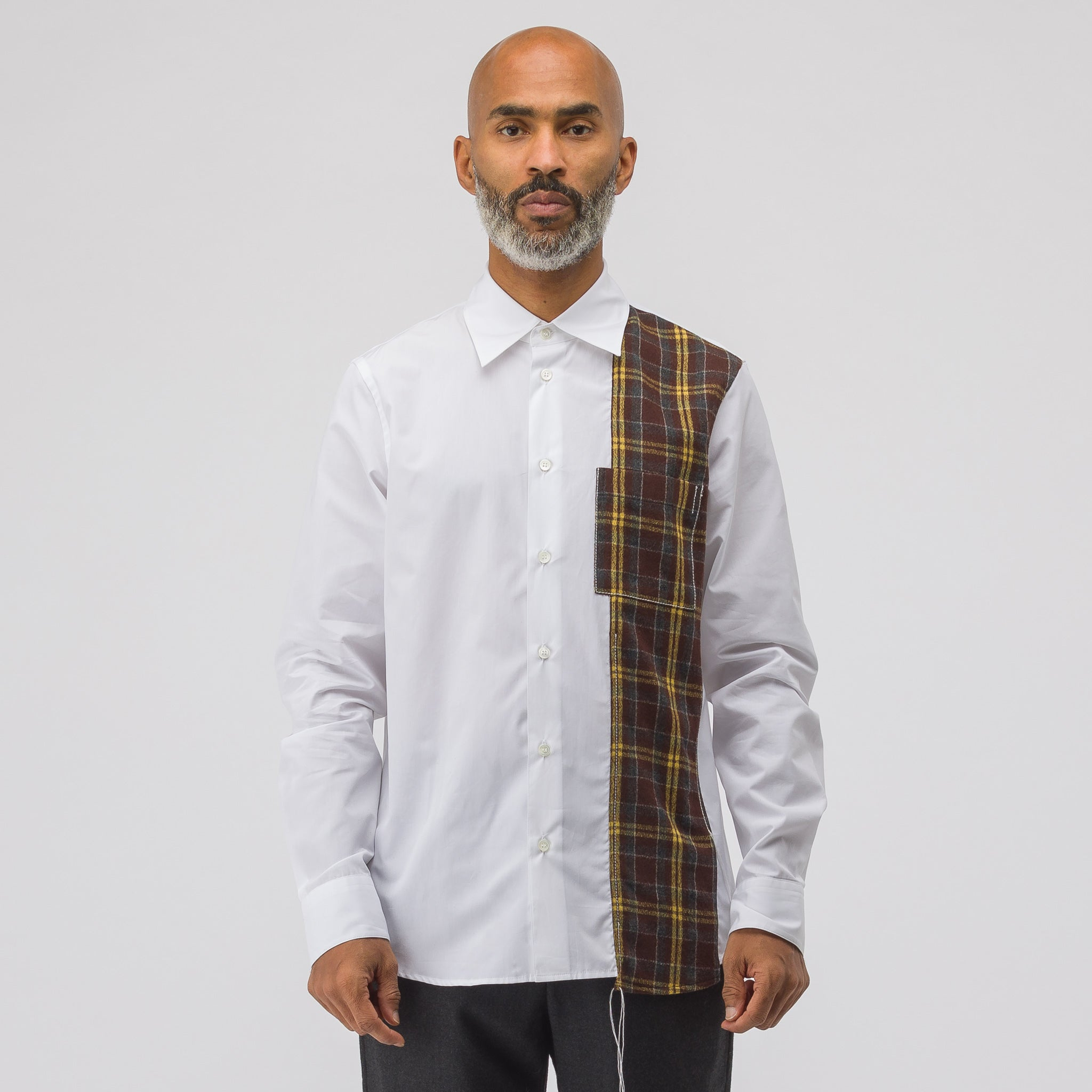 Flannel Patch Button Up in White