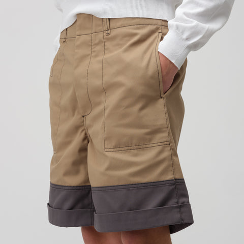 Marni Gabardine Work Short in Beige/Grey - Notre