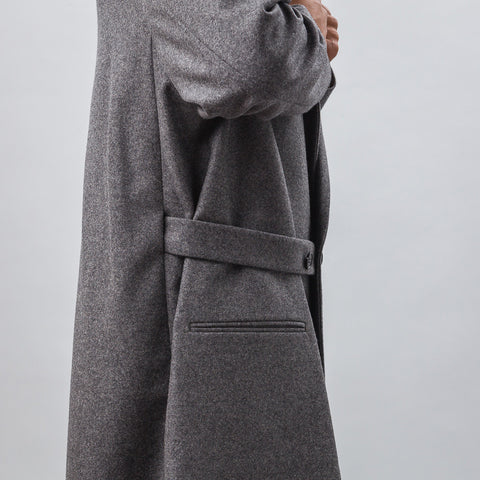 Marni Wool Coat with Half Belt Closure in Grey - Notre