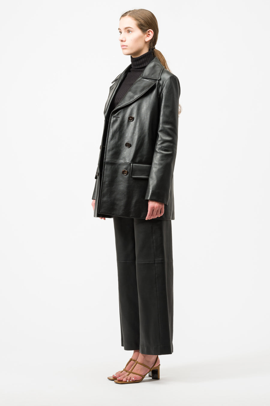 Marni Leather Coat in Black - Notre