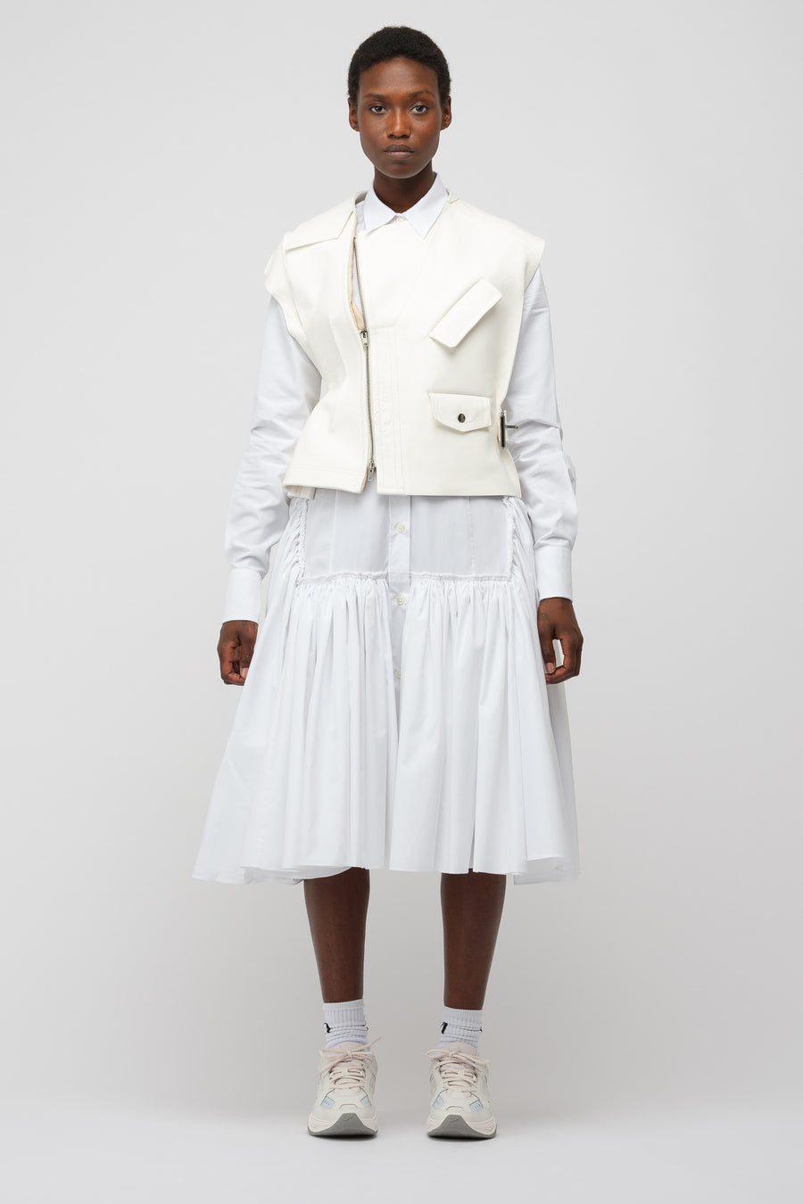 Marni Leather Jacket in Lily White/Silk White - Notre