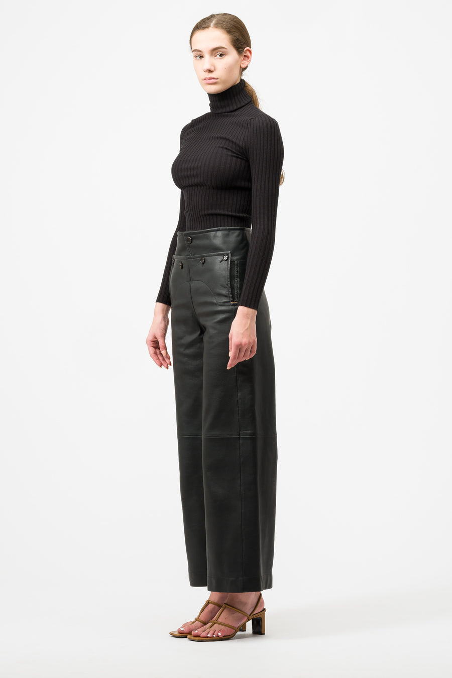 Marni Leather Trouser in Black - Notre