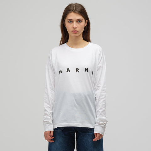 Marni Long Sleeve Crew Neck T-Shirt in Lily White - Notre