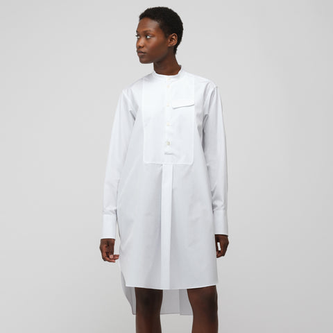 Marni L/S Band Collar Popover Dress in Lily White - Notre