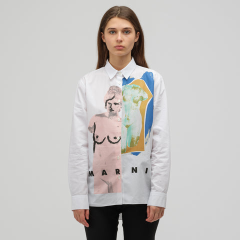 Marni L/S Polo Neck Shirt 1 in Lily White - Notre