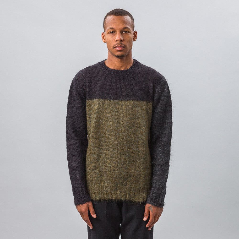 Marni Mohair Knit Sweater in Navy/Green Model Shot