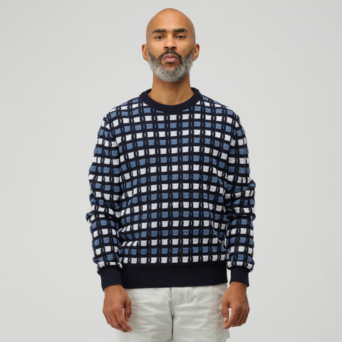 Marni Roundneck Sweater in Navy Blue Multi - Notre