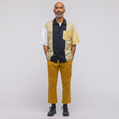 Marni Short Sleeve Sport Shirt in Navy/Yellow/White - Notre