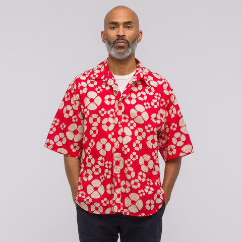 Marni Short Sleeve Sport Shirt in Red Print - Notre