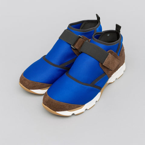 Marni Neoprene and Suede Sneaker in Blue/Grey - Notre