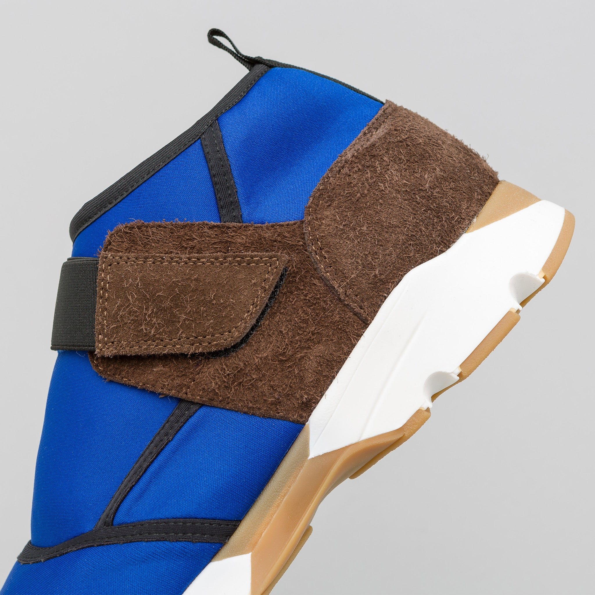 Neoprene and Suede Sneaker in Blue/Grey