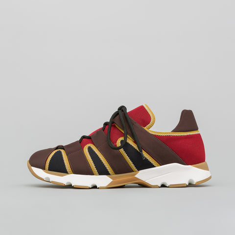 Marni Neoprene Lace Up Sneaker in Red/Brown - Notre