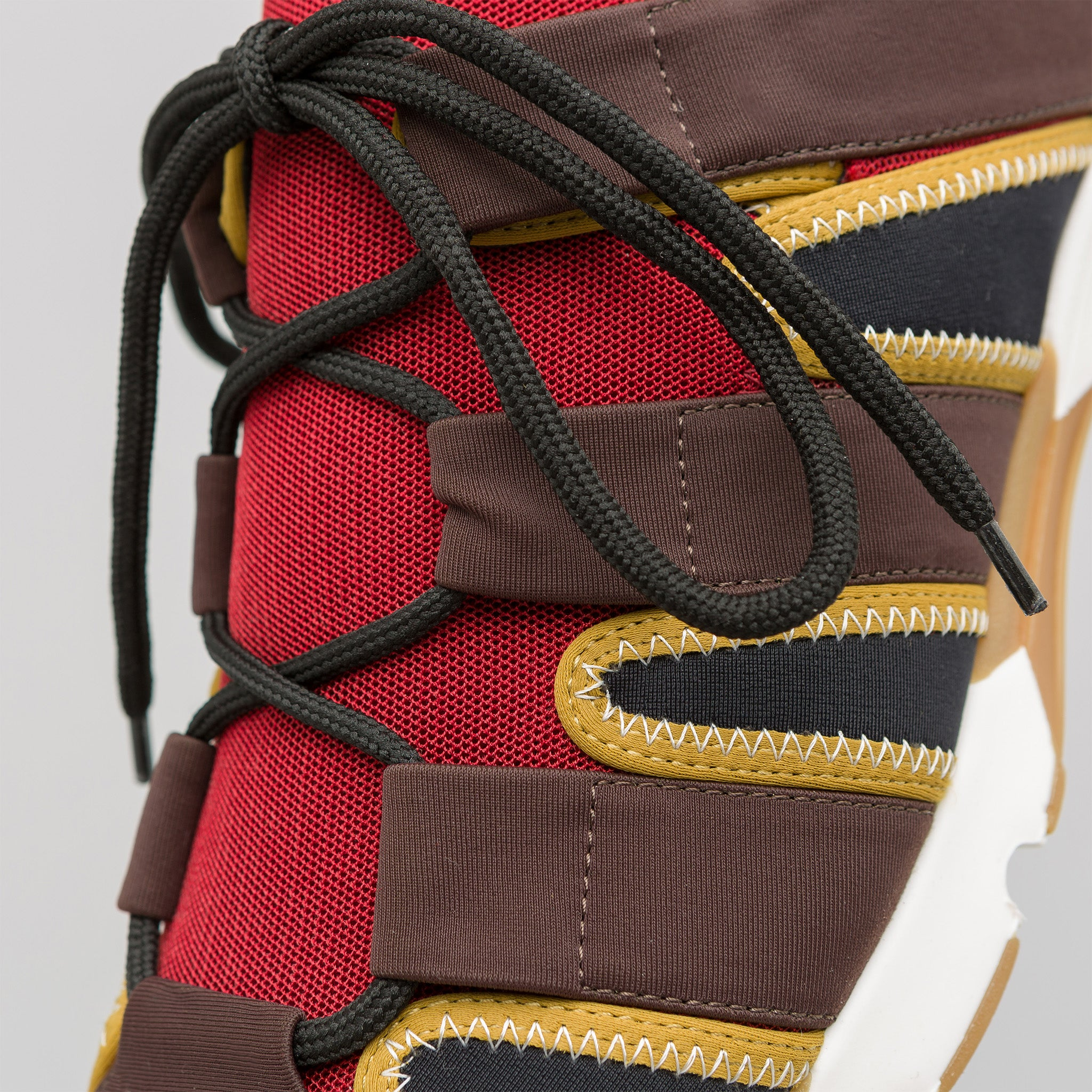 Neoprene Lace Up Sneaker in Red/Brown