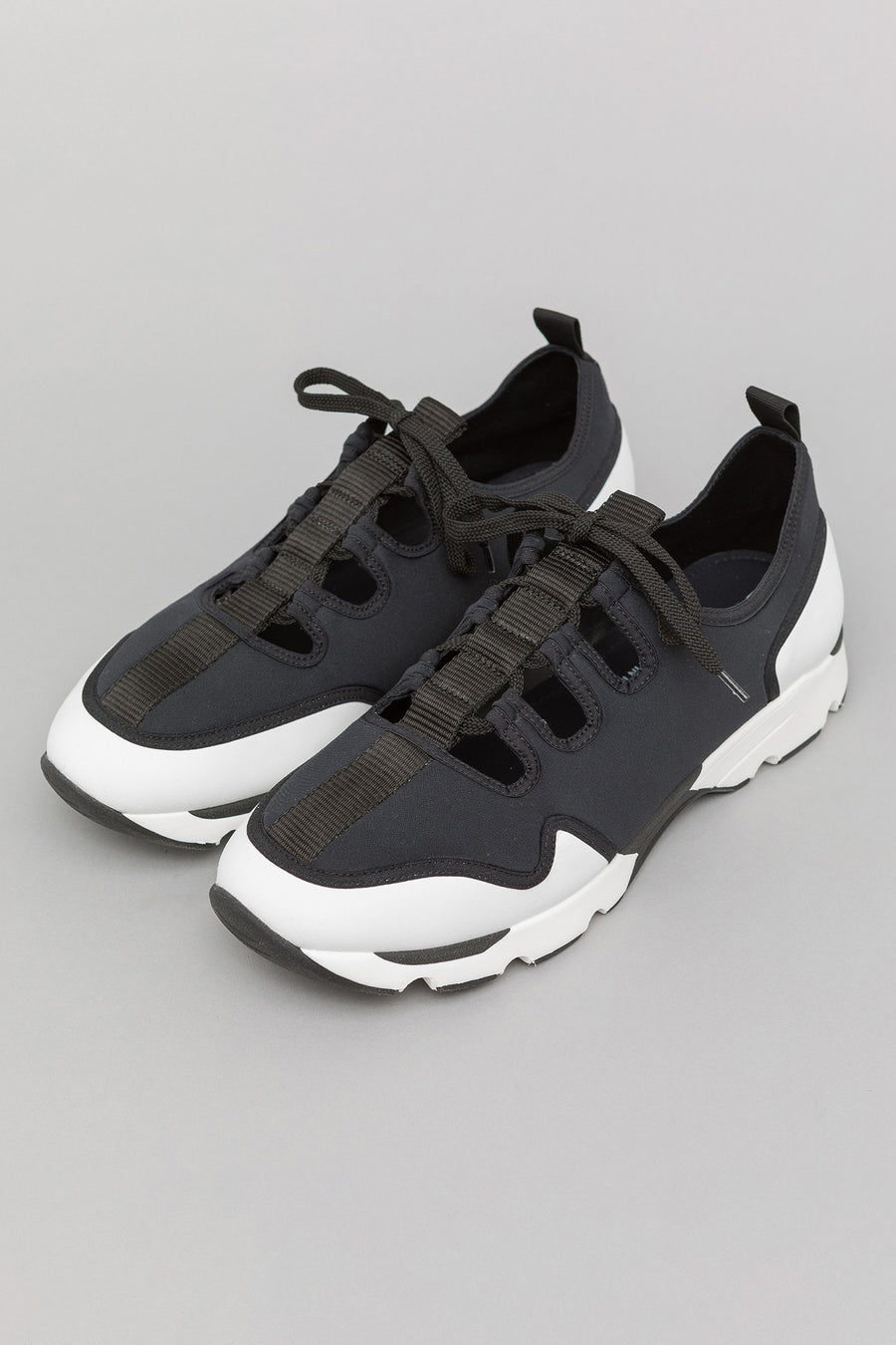 Marni Neoprene Ghillie Sneaker in Black/White - Notre