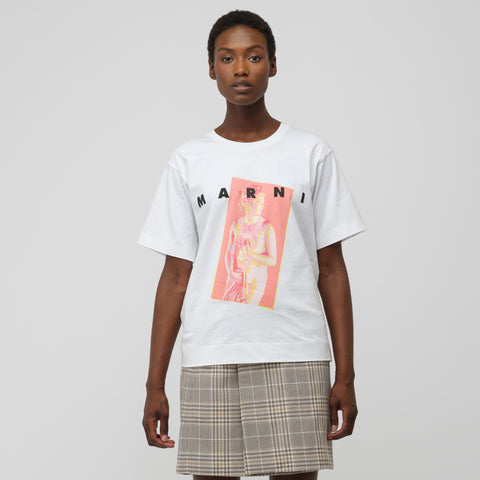 Marni S/S Crew Neck T-Shirt in Lily White - Notre