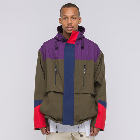 Martine Rose Bomber Raincoat in Olive/Purple/Red - Notre