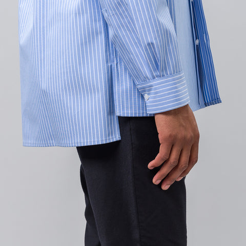 Martine Rose Bonded Cotton Long Sleeve Shirt in Blue - Notre