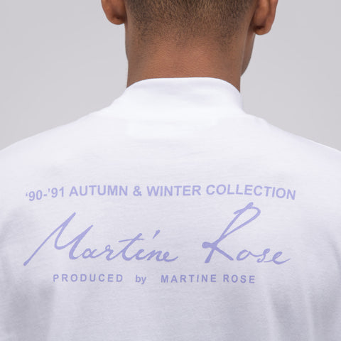 Martine Rose Classic Funnel Neck Long Sleeve T-Shirt in White - Notre