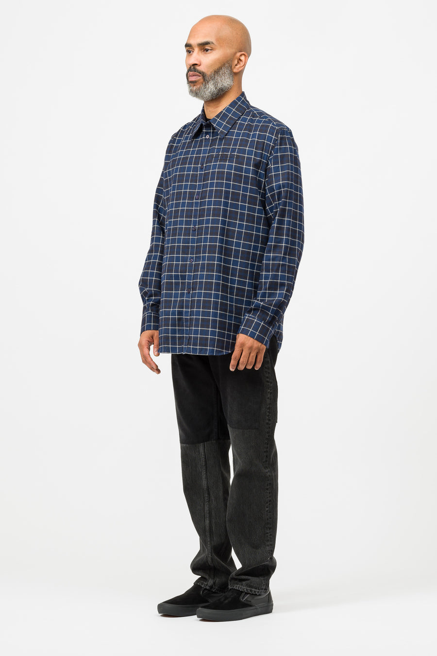 Martine Rose Classic Shirt in Black/White/Blue Check - Notre