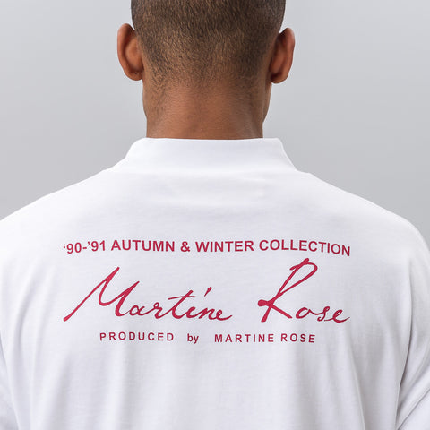Martine Rose Funnel Neck Sweatshirt in White/Red - Notre