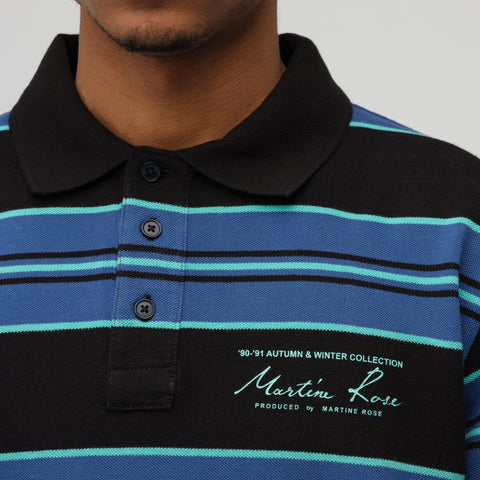 Martine Rose Jacquard Polo Top in Black/Blue Stripe - Notre