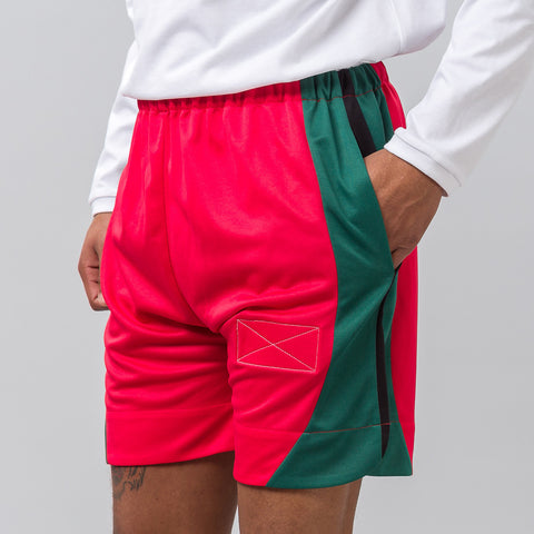 Martine Rose Long Sports Shorts in Red/Green - Notre
