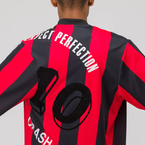 Martine Rose Twist Football Jersey in Red/Black - Notre
