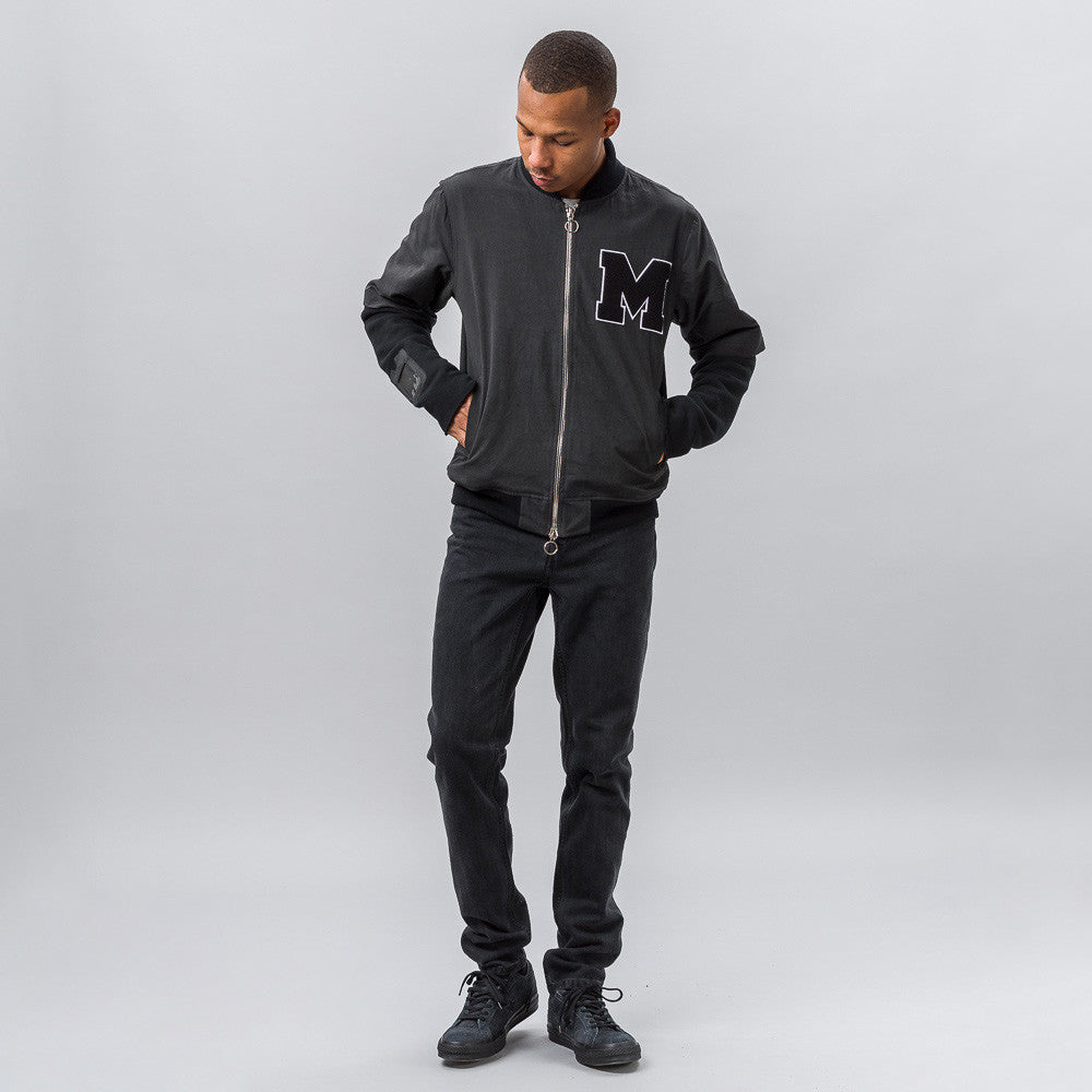 Midnight Studios Layered Varsity Jacket in Black Notre