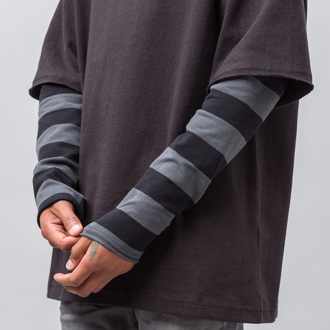 Midnight Studios Layered Stripe T-Shirt in Black/Charcoal - Notre