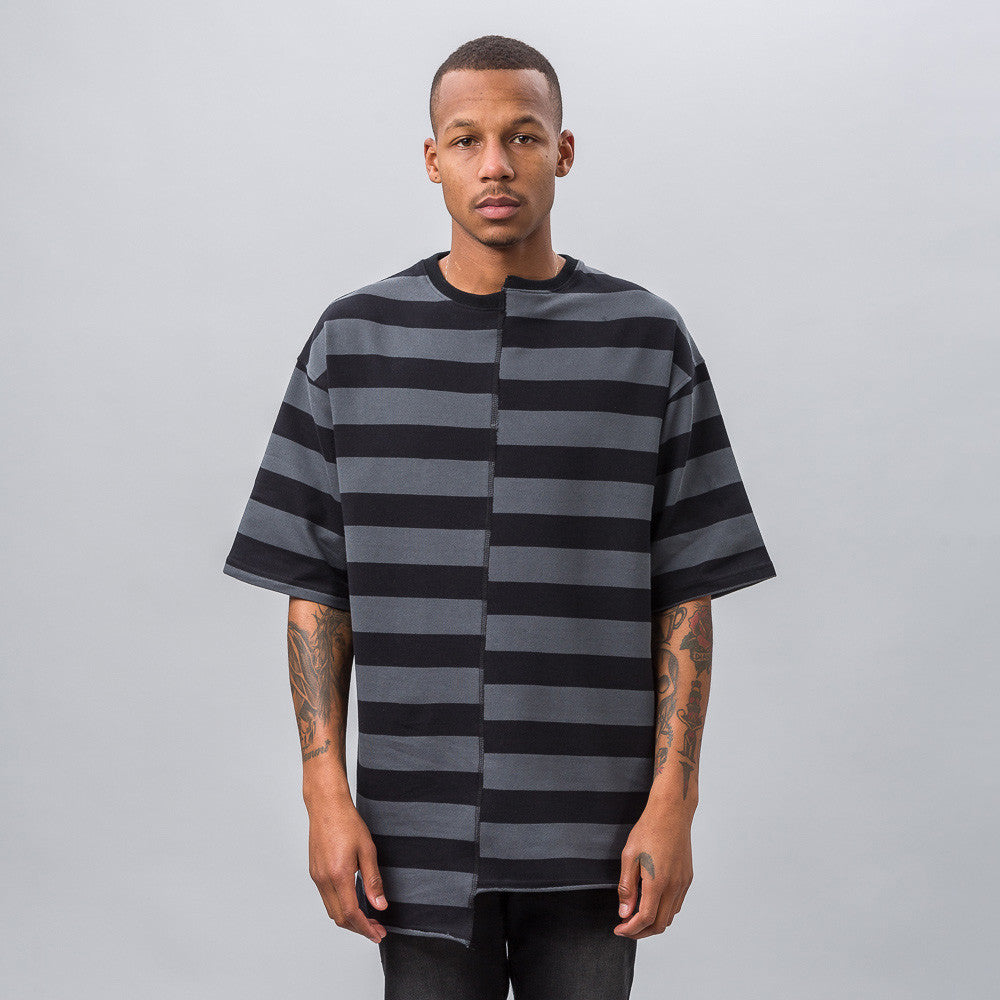 Reconstructed Oversized Stripe T-Shirt in Black/Gray