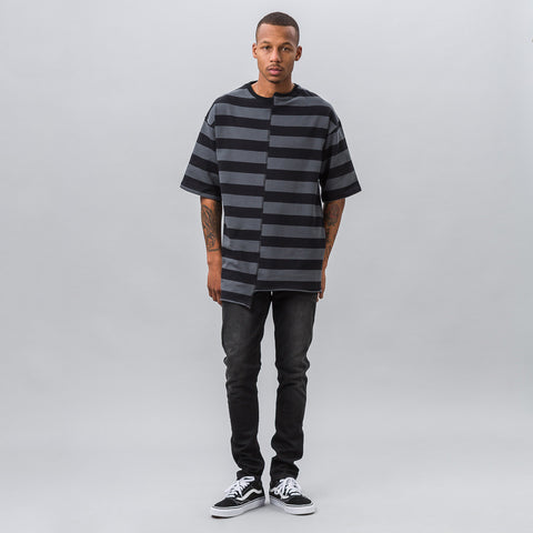Midnight Studios Reconstructed Oversized Stripe T-Shirt in Black/Gray - Notre