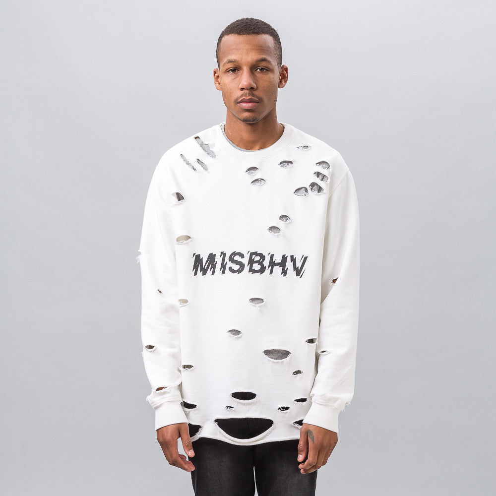 MISBHV Distressed Logo Sweatshirt in White Notre 1
