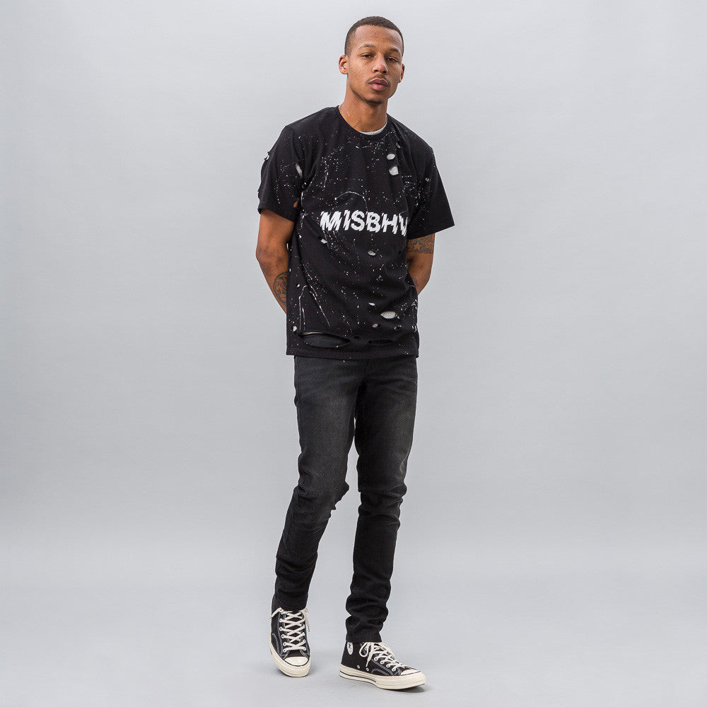 MISBHV Distressed Logo T-Shirt in Black Notre 1