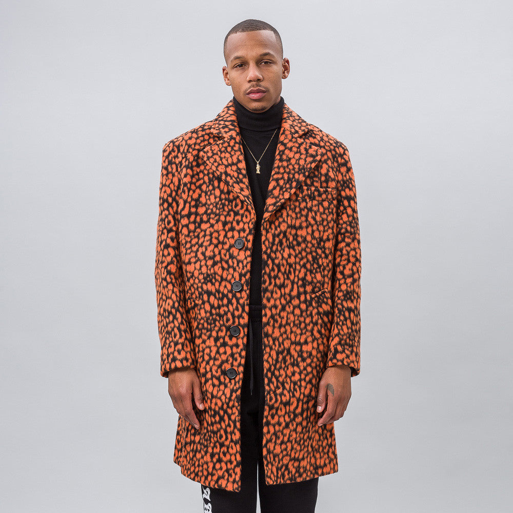 MISBHV - Leopard Wool Coat in Orange - Notre - 1