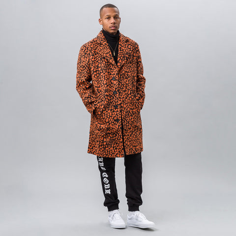 MISBHV Leopard Wool Coat in Orange - Notre