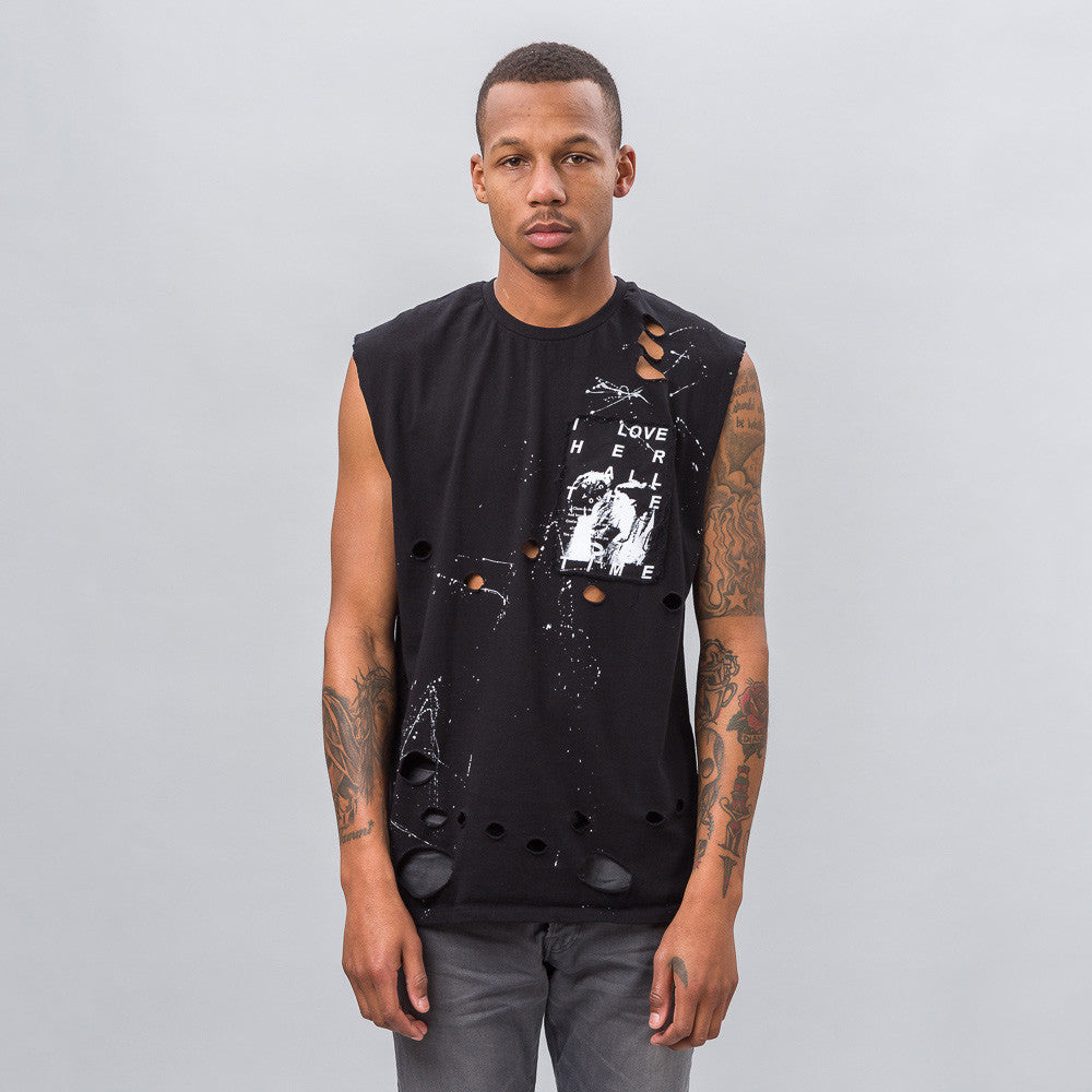Love Sleeveless T-Shirt in Black