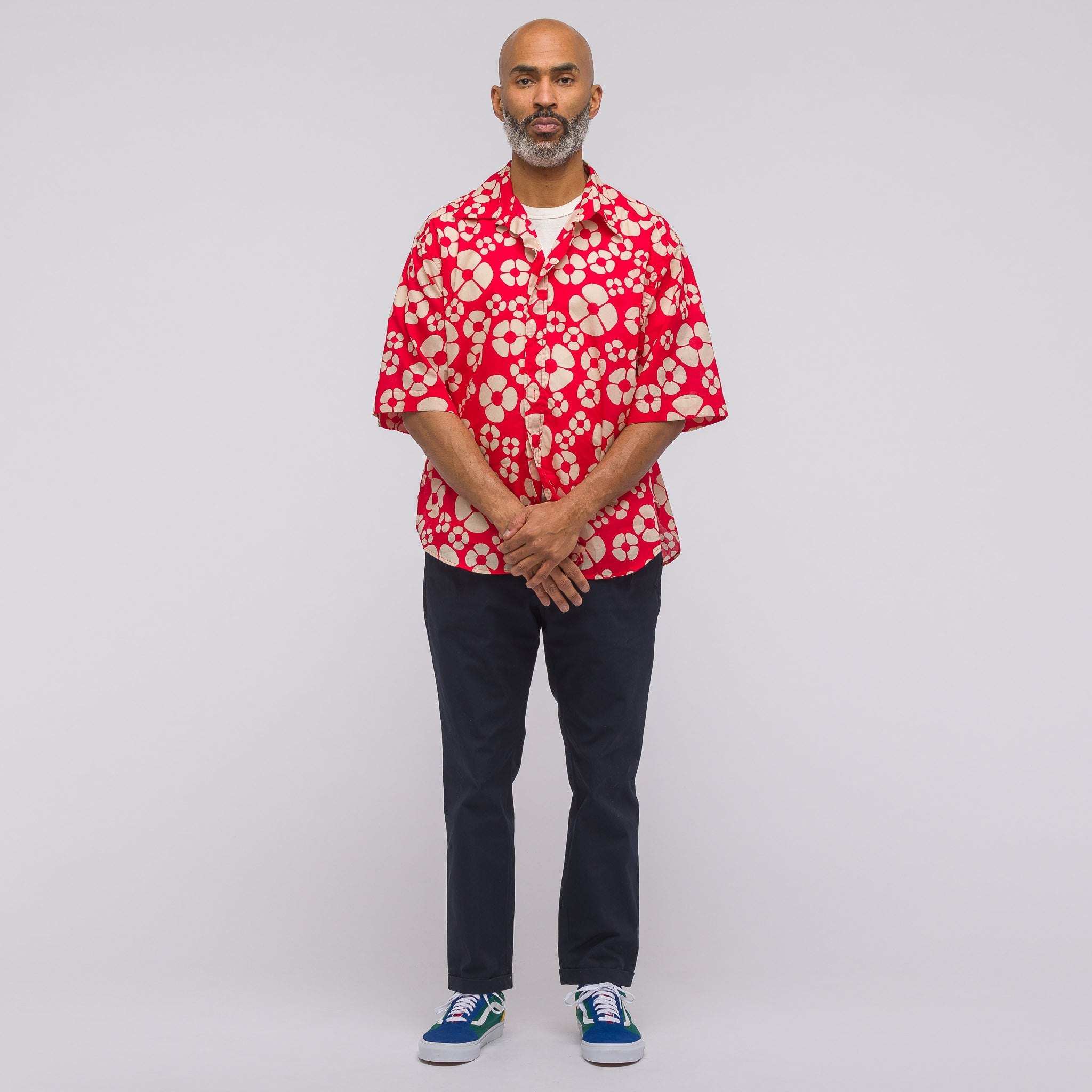 Short Sleeve Sport Shirt in Red Print