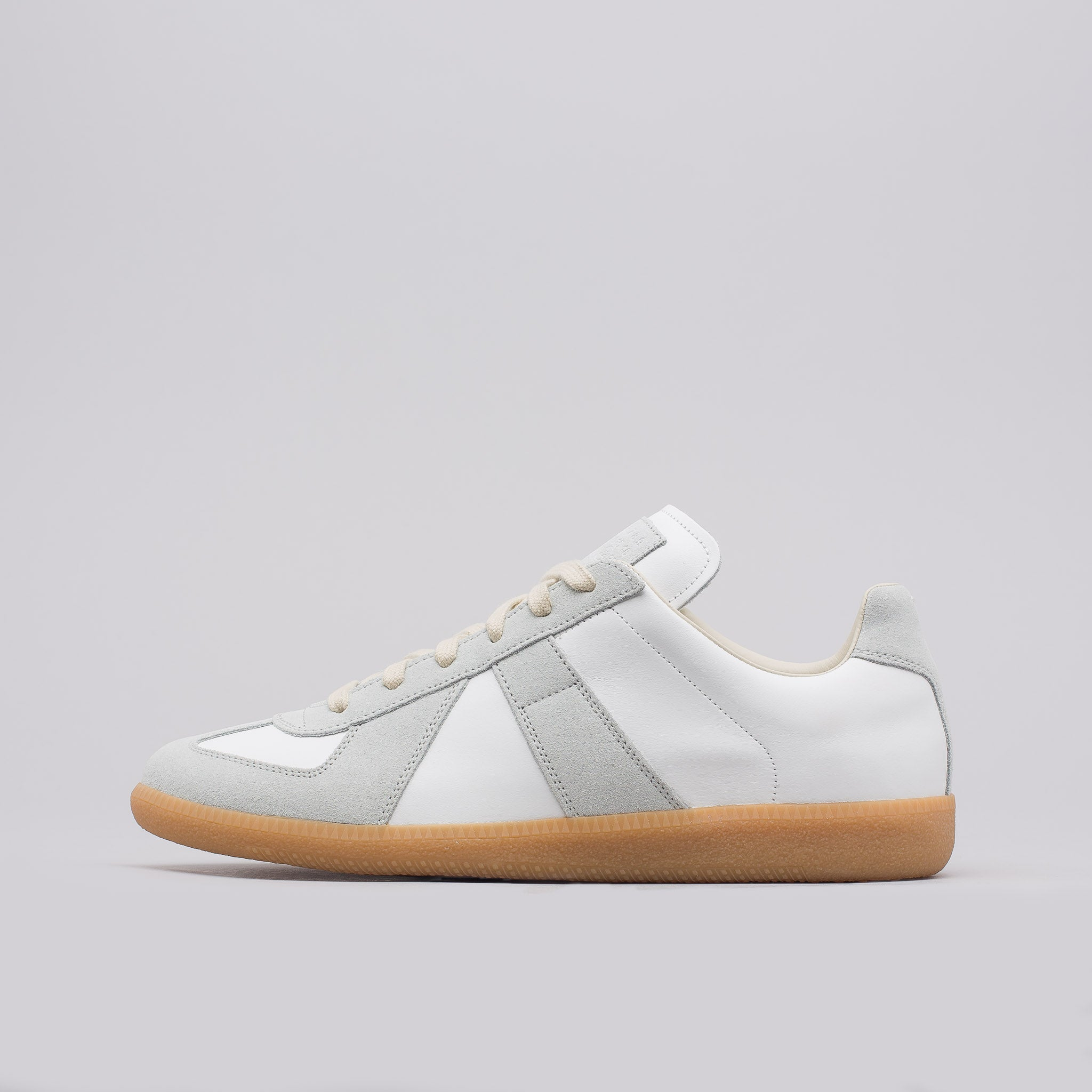 Calfskin Suede Replica in 101 White/Amber