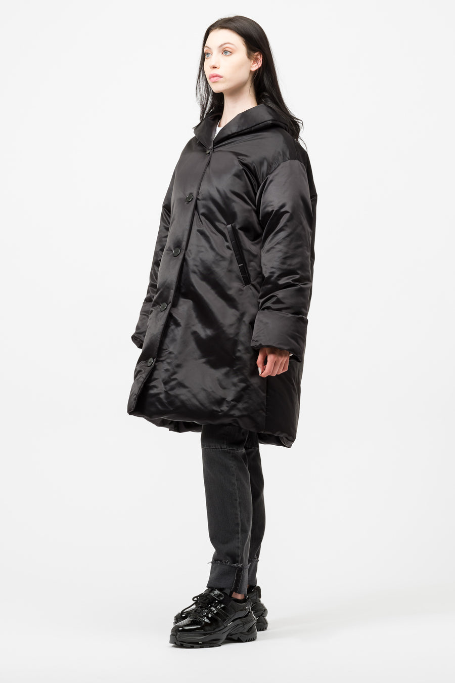 Maison Margiela MM6 Shawl Collar Puffer Coat in Black - Notre