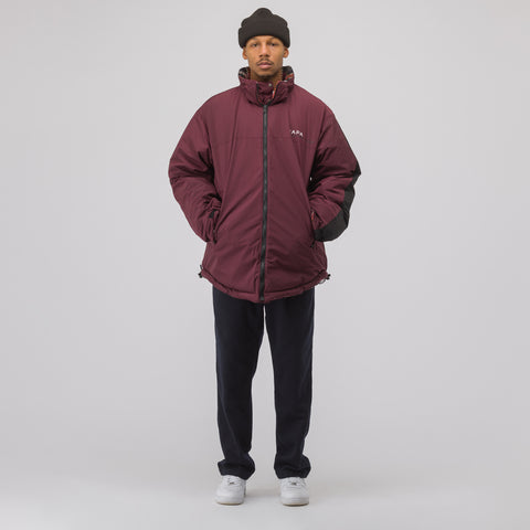 NAPA by Martine Rose A-Acho Reversible Jacket in Burgundy Check - Notre