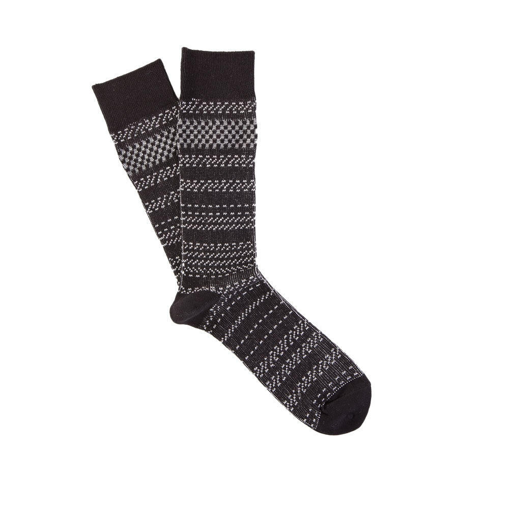 Necessary Anywhere Sock Four in Black/White Single Sock Flat Shot