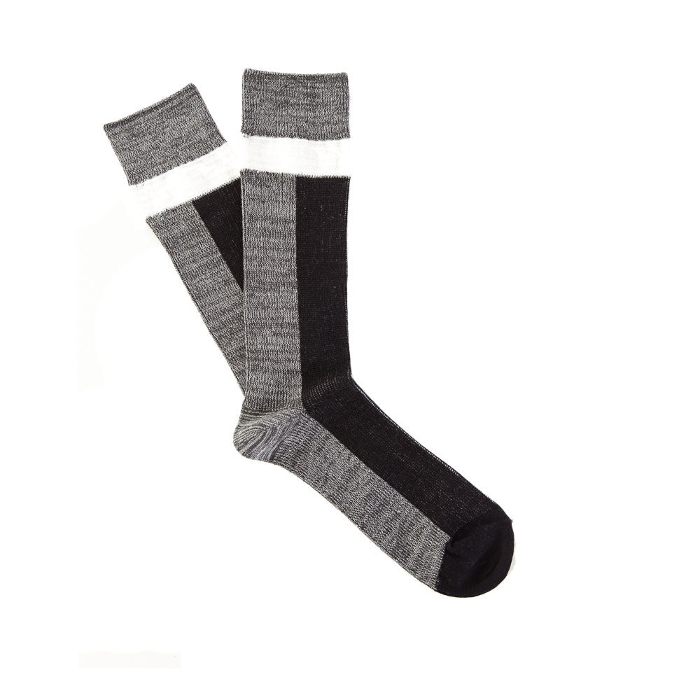 Necessary Anywhere Sock Three in Black/Grey/White Flat Pair Shot