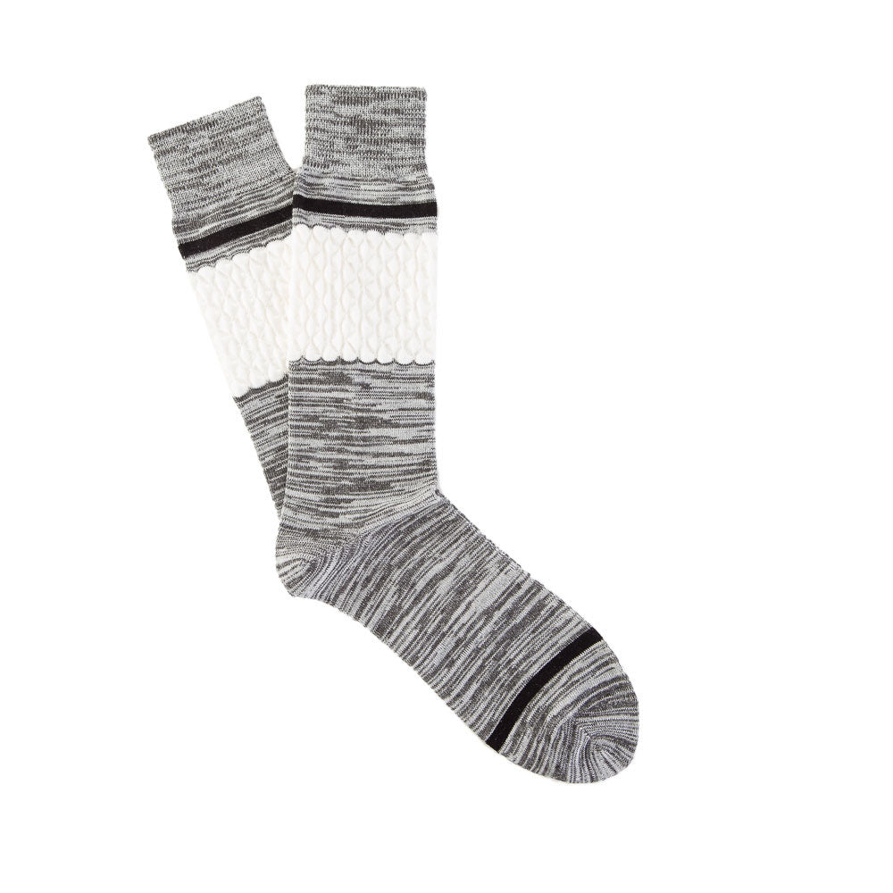 Necessary Anywhere Sock Two in Grey/White/Black Flat Shot