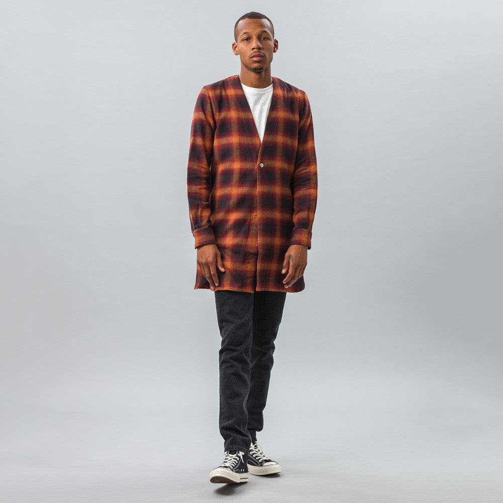 Needles 1B Cardigan Shirt in Herringbone Ombre Plaid Model Shot