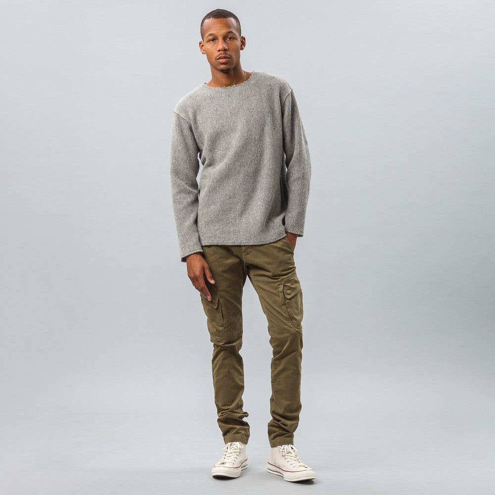 Needles Cut-Off Boat Neck L/S Tee in Grey Model Shot